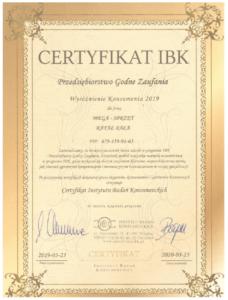 Certyfikat IBK 2019-2020 Przedsiębiorstwo Godne Zaufania - MEGA-SPRZĘT Rafał Bała